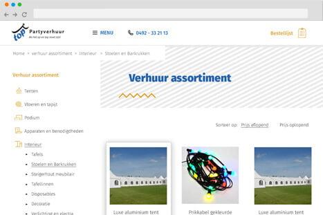 voorbeeld website applicatie top partyverhuur