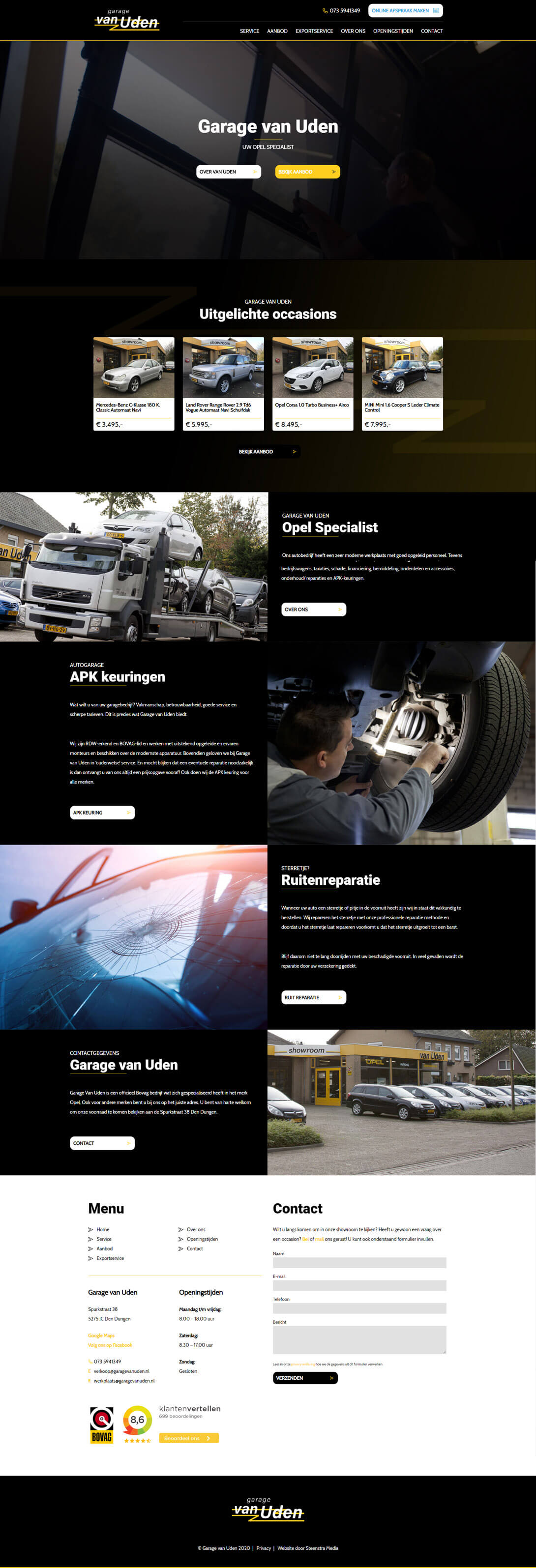 Autogarage website Van Uden reclamebureau-internetbureau-website-maken-steenstramedia