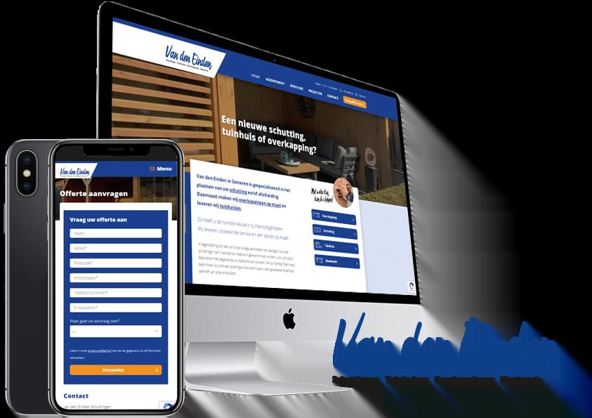 Website-en logo redesign van den Einden Schuttingen Someren - Steenstra Media