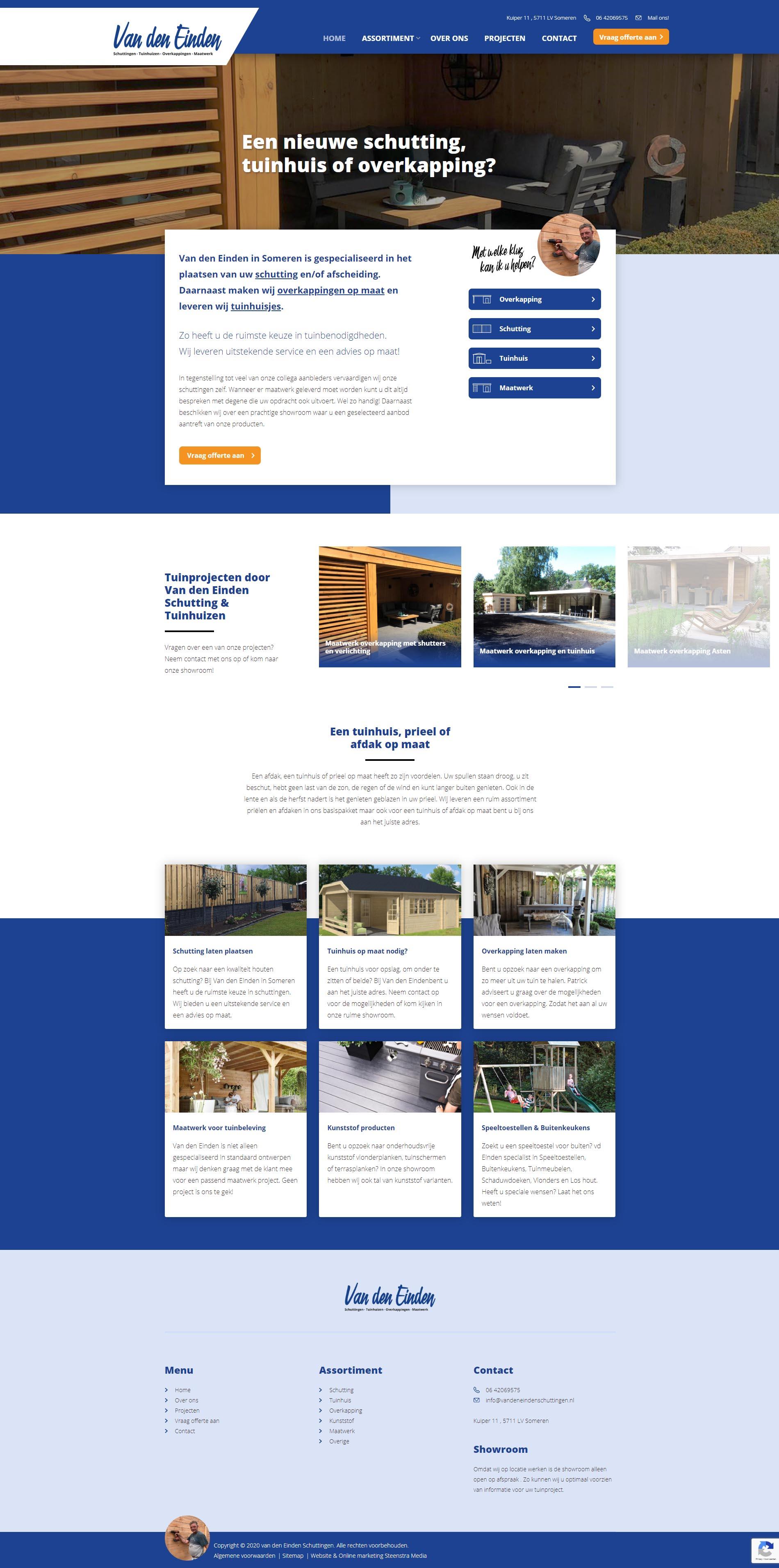 Website van den Einden Schuttingen - Someren -Steenstra Media Someren