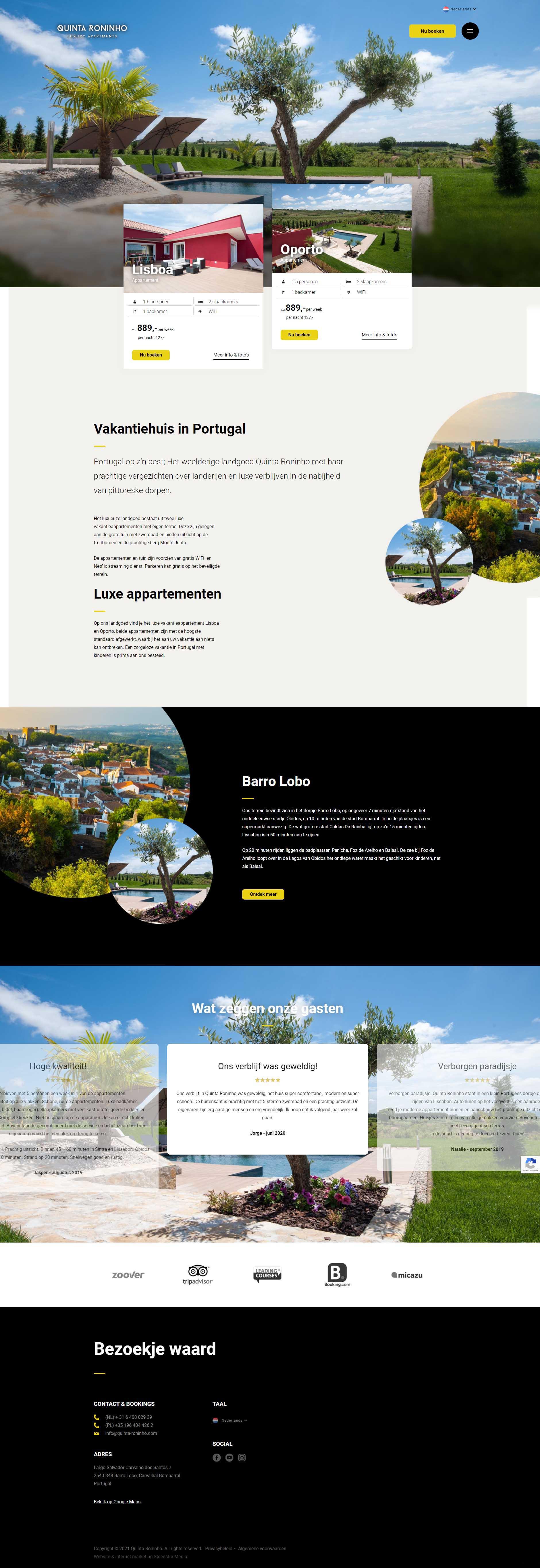 Website Luxe Appartementen Portugal - website-laten-maken-vakantiehuis- Steenstra Media